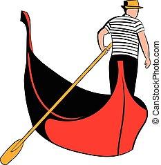 Gondola with gondolier icon cartoon - Gondola with gondolier...