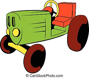 Tractor icon cartoon - Tractor icon in cartoon style...