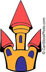 Castle icon cartoon - Castle icon in cartoon style isolated...