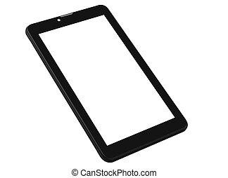 Tablet black background front left side angle