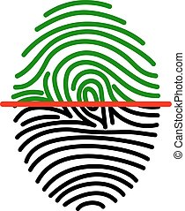 fingerprint on scanner access - fingerprint green icon image...