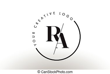 RA Serif Letter Logo Design with Creative Intersected Cut. -...