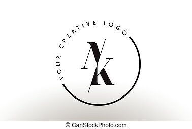AK Serif Letter Logo Design with Creative Intersected Cut. -...
