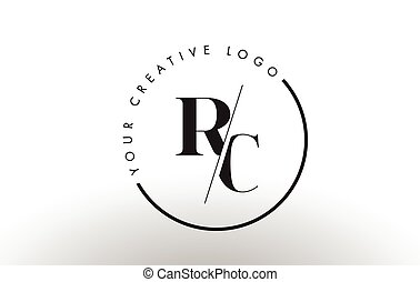 RC Serif Letter Logo Design with Creative Intersected Cut. -...