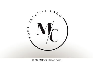 MC Serif Letter Logo Design with Creative Intersected Cut. -...