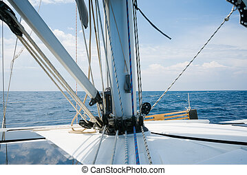 Beautiful yacht in open sea. Traveling, yachting, sailing...
