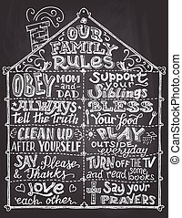 Our family rules chalkboard sign - Our family rules....