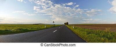 Road panorama - Panorama of the asphalt road in a beautiful...