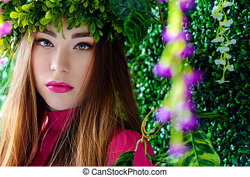 fairy girl in wreath - Spring girl portrait. Tender young...
