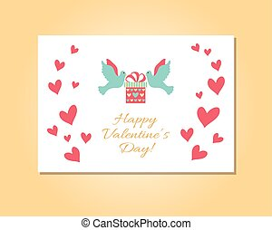 Happy Valentines Day card. Vector illustration, concept