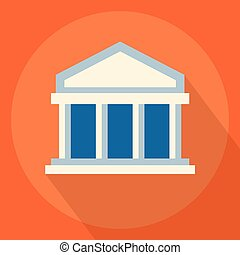 University or bank building flat icon. Vector illustration
