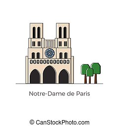 Notre-Dame de Paris vector illustration in flat and simple...