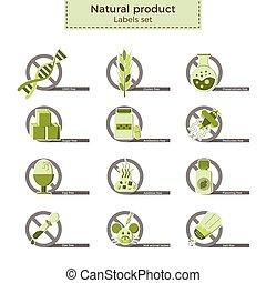 Natural product labels - Natural product vector labels set....