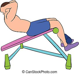 Man doing abs crunches on the bench icon cartoon