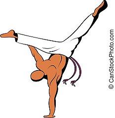 Capoeira dancer icon cartoon - Capoeira dancer icon in...