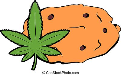 Cookies with marijuana leaf icon cartoon - Cookies with...