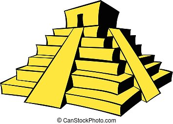 Mayan pyramid icon cartoon