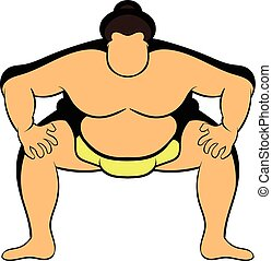 Sumo wrestler icon cartoon