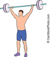 Man with barbell icon cartoon - Man with barbell icon in...