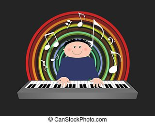 Keyboard player - Illustrated cartoon character playing a...