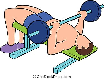 Men training on the bench press icon cartoon - Men training...