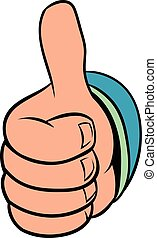 Thumb up gesture icon cartoon - Thumb up gesture icon in...