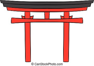 Japan gate icon cartoon - Japan gate icon in cartoon style...