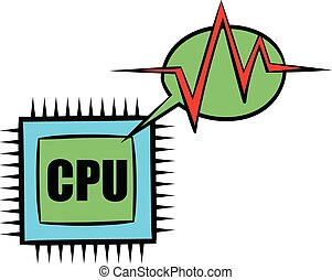 CPU icon cartoon - CPU icon in cartoon style isolated vector...