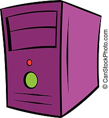 Computer system unit icon cartoon
