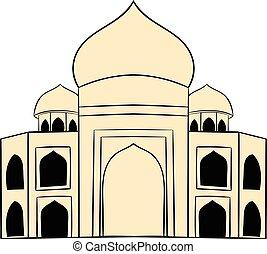 Taj Mahal, India icon cartoon - Taj Mahal, India icon in...