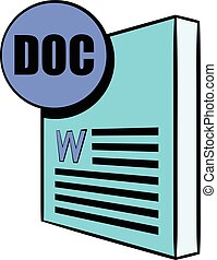 DOC file icon cartoon - DOC file icon in cartoon style...