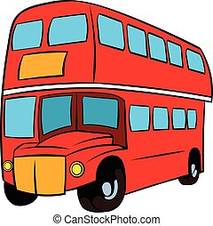 London double decker red bus icon cartoon - London double...