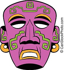 Tribal mask icon cartoon - Tribal mask icon in cartoon style...