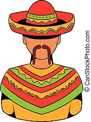 Mexican man icon cartoon - Mexican man icon in cartoon style...