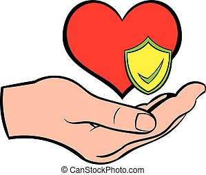 Hand holding red heart icon cartoon