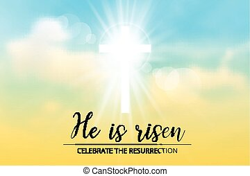 easter christian motive,with text He is risen, vector...