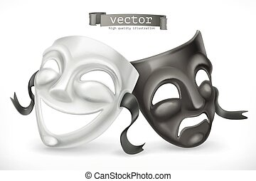 Black and white theatrical masks. Comedy and tragedy, 3d...