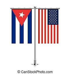 Cuba and USA flags hanging together. - Cuba and United...