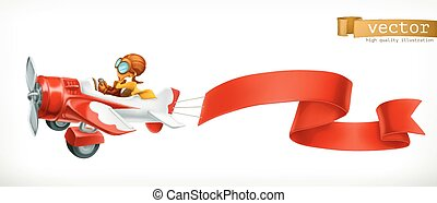 Funny airplane with red banner, 3d vector cartoon isolated on white background