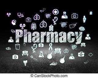 Medicine concept: Pharmacy in grunge dark room