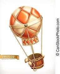 Hot air balloon, 3d vector icon