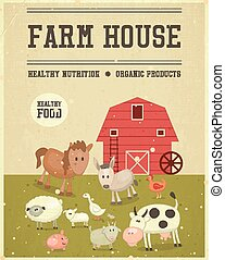 Farm House Retro Poster