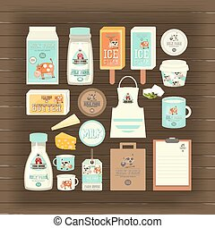 Milk and Dairy Products Mockup Template on Dark Wooden...