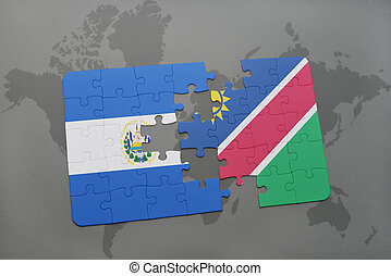 puzzle with the national flag of el salvador and namibia on...