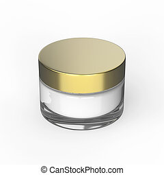 3D illustration glass cosmetic container for cream on a...