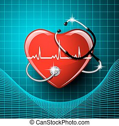 Stethoscope medical equipment, heart shape. - Stethoscope...