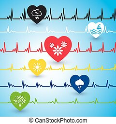 Several heartbeat lines. - Several heartbeat lines with...