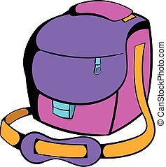 Camera bag icon cartoon