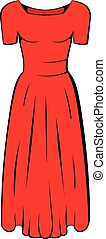 Womens red dress icon cartoon - Womens red dress icon in...