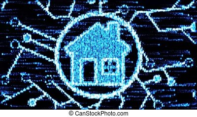 The concept of smart home. House of computer code - House of...